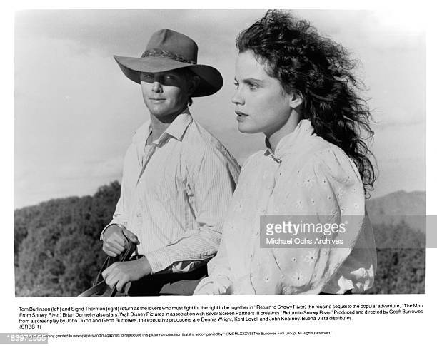 Actor Tom Burlinson and actress Sigrid Thornton on set of the movie 'Return to Snowy River' in 1988