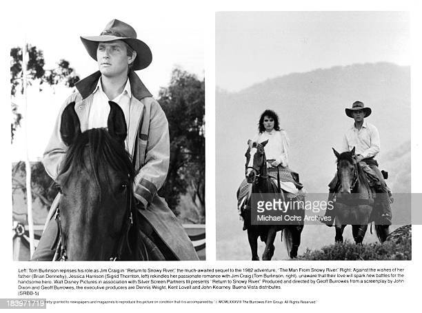 Actor Tom Burlinson on set Actress Sigrid Thornton and Actor Tom Burlinson on set of the movie 'Return to Snowy River' in 1988