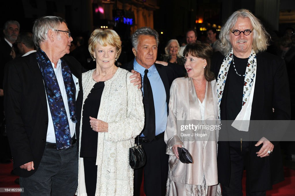 Actor <a gi-track='captionPersonalityLinkClicked' href=/galleries/search?phrase=Tom+Courtenay&family=editorial&specificpeople=699230 ng-click='$event.stopPropagation()'>Tom Courtenay</a>, actress Dame <a gi-track='captionPersonalityLinkClicked' href=/galleries/search?phrase=Maggie+Smith&family=editorial&specificpeople=206821 ng-click='$event.stopPropagation()'>Maggie Smith</a>, Director <a gi-track='captionPersonalityLinkClicked' href=/galleries/search?phrase=Dustin+Hoffman&family=editorial&specificpeople=171356 ng-click='$event.stopPropagation()'>Dustin Hoffman</a>, actress <a gi-track='captionPersonalityLinkClicked' href=/galleries/search?phrase=Pauline+Collins&family=editorial&specificpeople=1184956 ng-click='$event.stopPropagation()'>Pauline Collins</a> and comedian <a gi-track='captionPersonalityLinkClicked' href=/galleries/search?phrase=Billy+Connolly&family=editorial&specificpeople=208248 ng-click='$event.stopPropagation()'>Billy Connolly</a> attend the premiere of 'Quartet' during the 56th BFI London Film Festival at Odeon Leicester Square on October 15, 2012 in London, England.