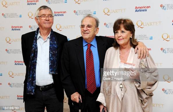 Actor Tom Courtenay Writer Ronald Harwood and actress Pauline Collins pose at the premiere of 'Quartet' during the 56th BFI London Film Festival at...