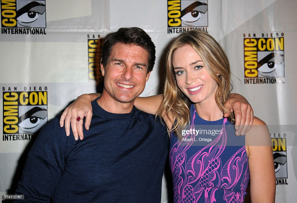 Actor Tom Cruise (L) and actress Emily Blunt appears at the Warner Bros. and Legendary Pictures preview during Comic-Con International 2013 at San Diego Convention Center on July 20, 2013 in San Diego, California.