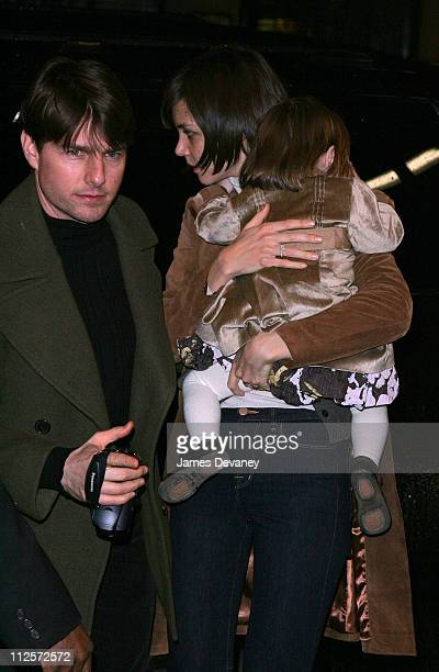 Actor Tom Cruise and actress Katie Holmes sighting with daughter Suri Cruise on January 13 2008 in New York City