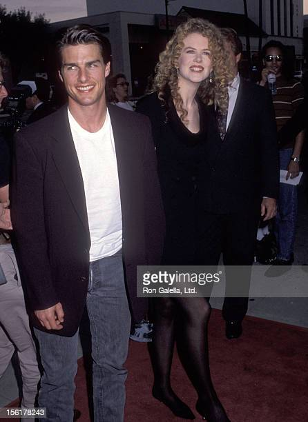 Actor Tom Cruise and actress Nicole Kidman attend the 'Far Away' Beverly Hills Premiere on May 20 1992 at Academy Theatre in Beverly Hills California
