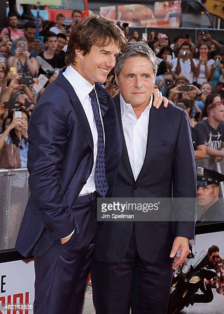Actor Tom Cruise and chairman and CEO of Paramount Pictures Brad Grey attend the 'Mission Impossible Rogue Nation' New York premiere at Times Square...