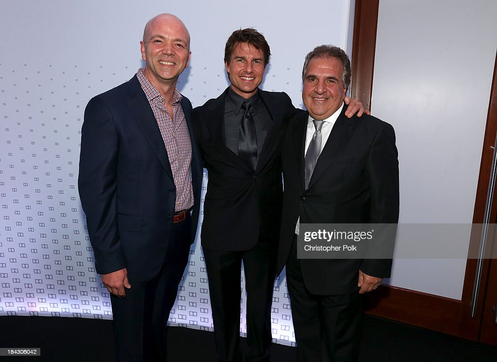 Actor <a gi-track='captionPersonalityLinkClicked' href=/galleries/search?phrase=Tom+Cruise&family=editorial&specificpeople=156405 ng-click='$event.stopPropagation()'>Tom Cruise</a> (C) and Chairman & Chief Executive Officer of Fox Filmed Entertainment <a gi-track='captionPersonalityLinkClicked' href=/galleries/search?phrase=Jim+Gianopulos&family=editorial&specificpeople=211611 ng-click='$event.stopPropagation()'>Jim Gianopulos</a> (R) attend 'Hugh Jackman... One Night Only' Benefiting MPTF at Dolby Theatre on October 12, 2013 in Hollywood, California.