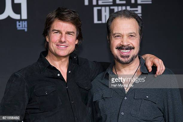 Actor Tom Cruise and director Edward Zwick attend the 'Jack Reacher Never Go Back' press conference on November 7 2016 in Seoul South Korea