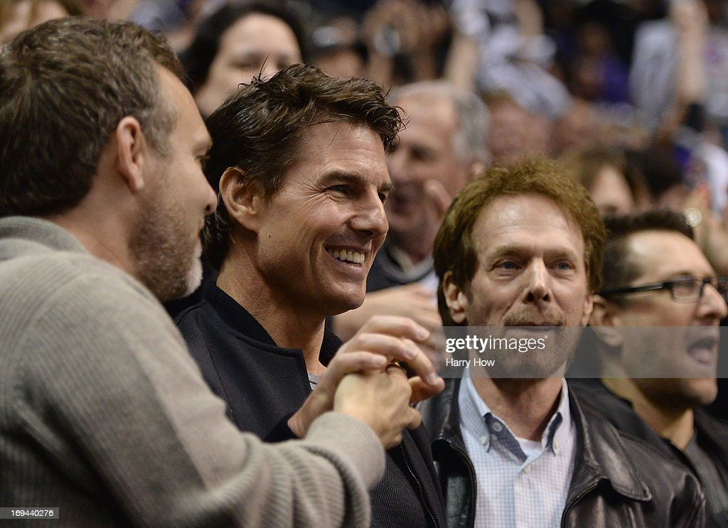 Actor <a gi-track='captionPersonalityLinkClicked' href=/galleries/search?phrase=Tom+Cruise&family=editorial&specificpeople=156405 ng-click='$event.stopPropagation()'>Tom Cruise</a> and director <a gi-track='captionPersonalityLinkClicked' href=/galleries/search?phrase=Jerry+Bruckheimer&family=editorial&specificpeople=203316 ng-click='$event.stopPropagation()'>Jerry Bruckheimer</a> celebrate an empty net goal of Jeff Carter #77 of the Los Angeles Kings on way to a 3-0 win over the San Jose Sharks in Game Five of the Western Conference Semifinals during the 2013 Stanley Cup Playoffs at Staples Center on May 23, 2013 in Los Angeles, California.