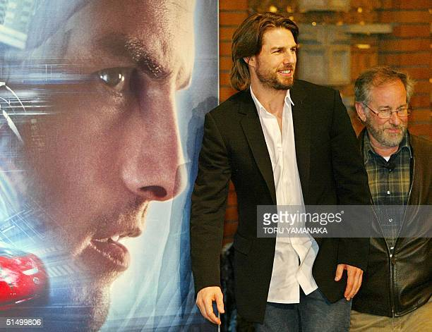 US actor Tom Cruise and director Steven Spielberg appear before photographers during a press conference in a Tokyo hotel 26 October 2002 to promote...