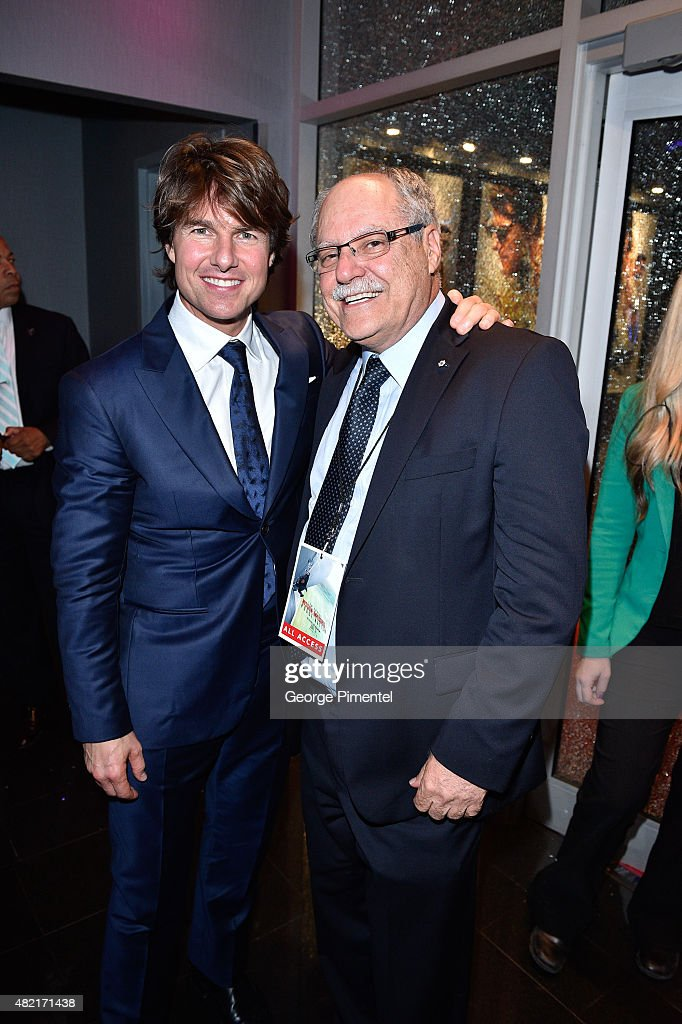 Actor Tom Cruise and Ellis Jacob, CEO Cineplex Entertainment attend the Canadian Fan Premiere of 'Mission: Impossible - Rogue Nation' at the Cineplex Scotiabank Theatre on July 27, 2015 in Toronto, Canada.