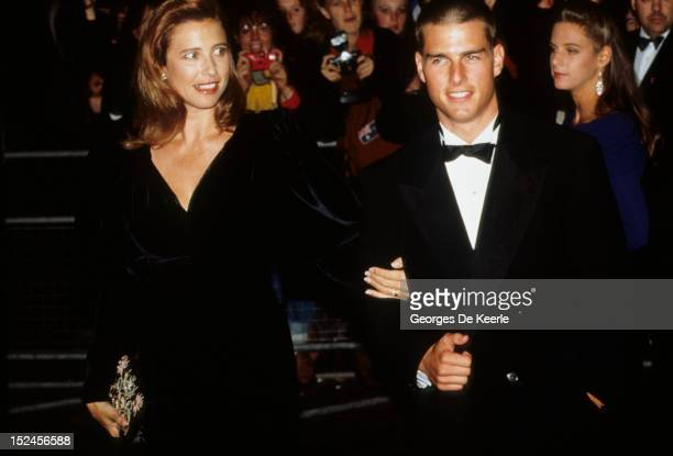 Actor Tom Cruise and his wife Mimi Rogers attend a premiere in London 1989 circa