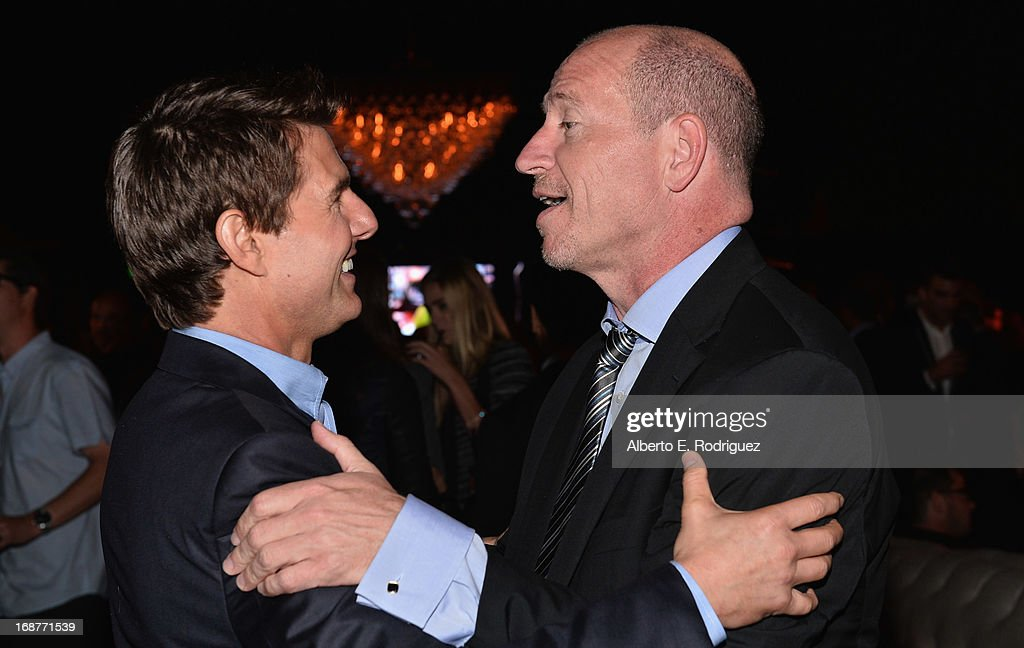 Actor <a gi-track='captionPersonalityLinkClicked' href=/galleries/search?phrase=Tom+Cruise&family=editorial&specificpeople=156405 ng-click='$event.stopPropagation()'>Tom Cruise</a> and Paramount Pictures Vice Chairman Rob Moore attend the after party for the premiere of Paramount Pictures' 'Star Trek Into Darkness' at AV Nightclub on May 14, 2013 in Hollywood, California.
