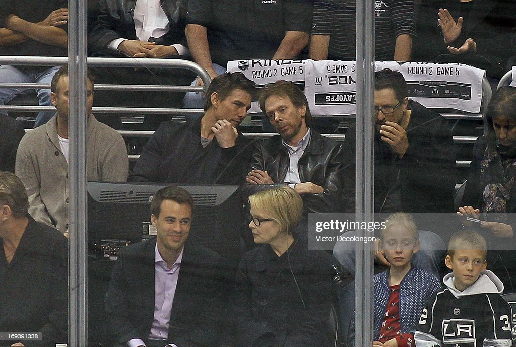 Actor Tom Cruise and producer Jerry Bruckheimer attend Game Five of the Western Conference Semifinals between the San Jose Sharks and the Los Angeles Kings during the 2013 NHL Stanley Cup Playoffs at Staples Center on May 23, 2013 in Los Angeles, California. The Kings defeated the Sharks 3-0.