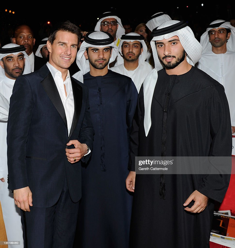 Actor <a gi-track='captionPersonalityLinkClicked' href=/galleries/search?phrase=Tom+Cruise&family=editorial&specificpeople=156405 ng-click='$event.stopPropagation()'>Tom Cruise</a> (L) and Sheikh Hamdan bin Mohammed bin Rashid al Maktoum (R) attend the 'Mission: Impossible - Ghost Protocol' Premiere during day one of the 8th Annual Dubai International Film Festival held at the Madinat Jumeriah Complex on December 7, 2011 in Dubai, United Arab Emirates.