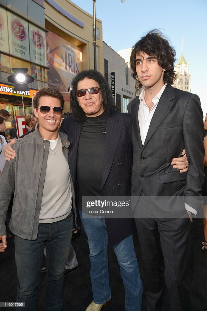 Actor <a gi-track='captionPersonalityLinkClicked' href=/galleries/search?phrase=Tom+Cruise&family=editorial&specificpeople=156405 ng-click='$event.stopPropagation()'>Tom Cruise</a> and TV Personalities <a gi-track='captionPersonalityLinkClicked' href=/galleries/search?phrase=Gene+Simmons&family=editorial&specificpeople=138593 ng-click='$event.stopPropagation()'>Gene Simmons</a> and <a gi-track='captionPersonalityLinkClicked' href=/galleries/search?phrase=Nick+Simmons&family=editorial&specificpeople=650232 ng-click='$event.stopPropagation()'>Nick Simmons</a> arrive at the 'Rock of Ages' Los Angeles premiere held at Grauman's Chinese Theatre on June 8, 2012 in Hollywood, California.