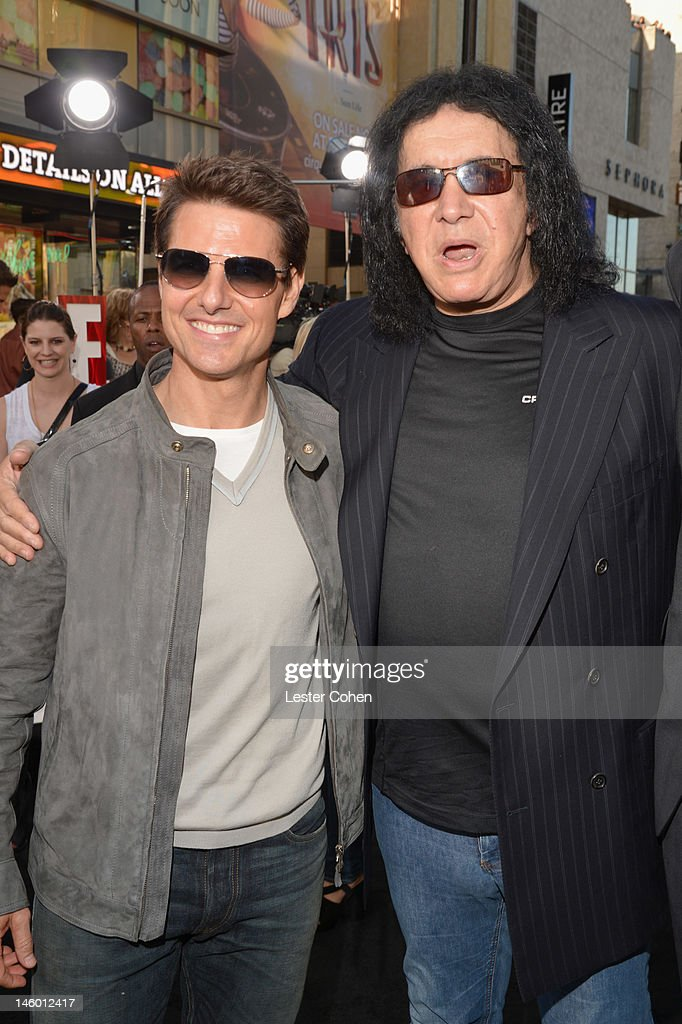 Actor <a gi-track='captionPersonalityLinkClicked' href=/galleries/search?phrase=Tom+Cruise&family=editorial&specificpeople=156405 ng-click='$event.stopPropagation()'>Tom Cruise</a> (L) and TV Personality <a gi-track='captionPersonalityLinkClicked' href=/galleries/search?phrase=Gene+Simmons&family=editorial&specificpeople=138593 ng-click='$event.stopPropagation()'>Gene Simmons</a> arrive at the 'Rock of Ages' Los Angeles premiere held at Grauman's Chinese Theatre on June 8, 2012 in Hollywood, California.