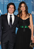 Actor Tom Cruise and wife actress Katie Holmes arrive at the Simon Wiesenthal Center Annual National Tribute Dinner Honoring Tom Cruise at the...
