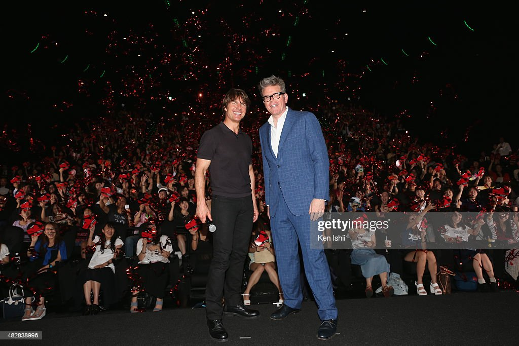 Actor Tom Cruise and writer/director Christopher McQuarrie attend the Japan Premiere of 'Mission: Impossible - Rogue Nation' at the Toho Cinemas Shinjyuku on August 3, 2015 in Tokyo, Japan.