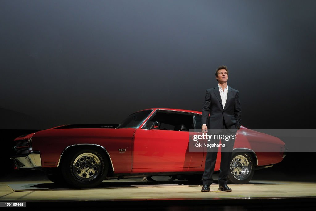 Actor <a gi-track='captionPersonalityLinkClicked' href=/galleries/search?phrase=Tom+Cruise&family=editorial&specificpeople=156405 ng-click='$event.stopPropagation()'>Tom Cruise</a> aperes infront of the Chevrolet Chevelle ss during the 'Jack Reacher' Japan Premiere at Tokyo International Forum on January 9, 2013 in Tokyo, Japan.