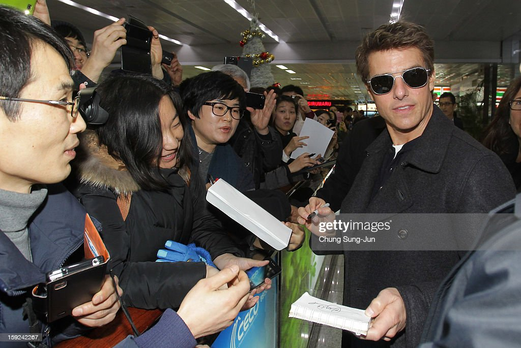 Actor <a gi-track='captionPersonalityLinkClicked' href=/galleries/search?phrase=Tom+Cruise&family=editorial&specificpeople=156405 ng-click='$event.stopPropagation()'>Tom Cruise</a> arrives at Kimhae Airport on January 10, 2013 in Busan, South Korea.