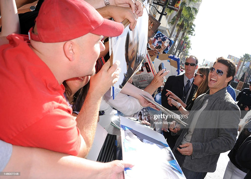 Actor <a gi-track='captionPersonalityLinkClicked' href=/galleries/search?phrase=Tom+Cruise&family=editorial&specificpeople=156405 ng-click='$event.stopPropagation()'>Tom Cruise</a> (R) arrives at the premiere of Warner Bros. Pictures' 'Rock of Ages' at Grauman's Chinese Theatre on June 8, 2012 in Hollywood, California.