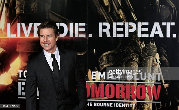 US actor Tom Cruise arrives for the World Premiere of the film 'Edge of Tomorrow' at the BFI IMAX cinema in London on May 28 2014 The stars of the...
