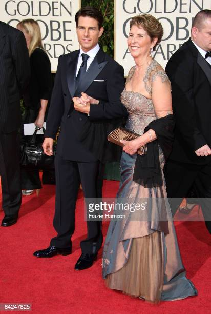 Actor Tom Cruise arrives with his mother Mary Lee Mapother at the 66th Annual Golden Globe Awards held at the Beverly Hilton Hotel on January 11 2009...