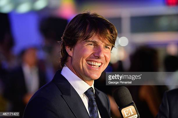 Actor Tom Cruise attends the Canadian Fan Premiere of 'Mission Impossible Rogue Nation' at the Cineplex Scotiabank Theatre on July 27 2015 in Toronto...