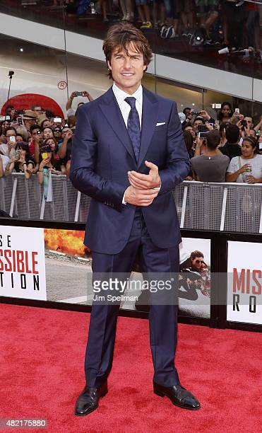 Actor Tom Cruise attends the 'Mission Impossible Rogue Nation' New York premiere at Times Square on July 27 2015 in New York City