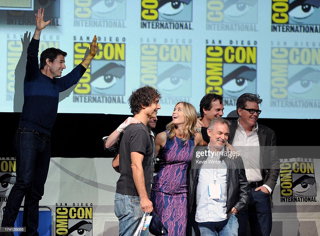 Actor Tom Cruise, director Doug Liman, TV personality Chris Hardwick, actress Emily Blunt, producer Erwin Stoff, actor Bill Paxton and screenwriter Christopher McQuarrie speak onstage at the Warner Bros. and Legendary Pictures preview of 'Edge of Tomorrow' during Comic-Con International 2013 at San Diego Convention Center on July 20, 2013 in San Diego, California.