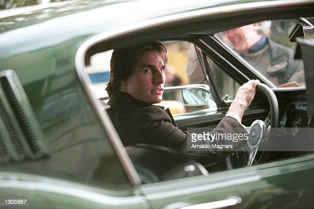 Actor Tom Cruise drives a Fastback Mustang November 7 2000 in New York City while shooting 'Vanilla Sky' a romantic autocentric film