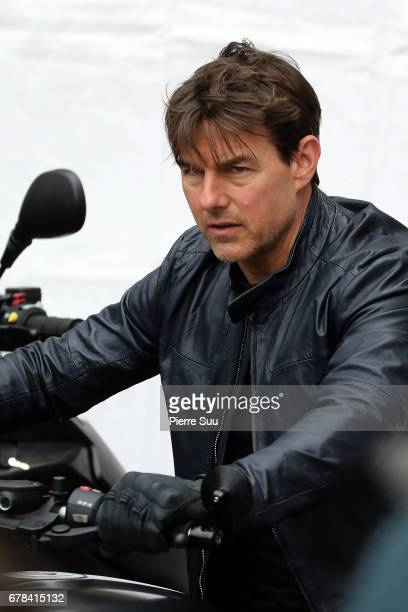 Actor Tom Cruise is seen on the set of Set of Mission Impossible 6 on May 4 2017 in Paris France