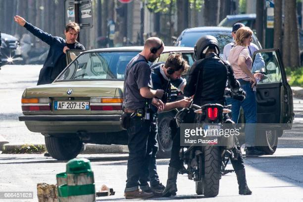 Actor Tom Cruise is spotted on the set of 'Mission Impossible 6 Gemini' on April 9 2017 in Paris France