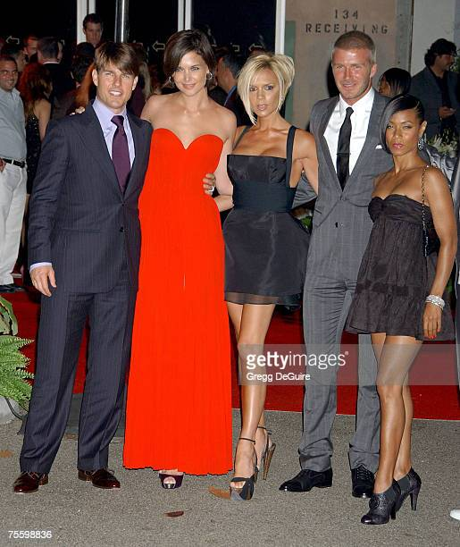 Actor Tom Cruise Katie Holmes Victoria Beckham David Beckham and Jada Pinkett Smith arrive at the 'Beckham Welcome To LA Party' at the Museum of...