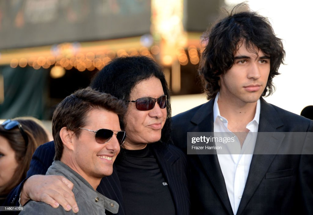Actor Tom Cruise, musician Gene Simmons and Nick Simmons arrive at the premiere of Warner Bros. Pictures' 'Rock of Ages' at Grauman's Chinese Theatre on June 8, 2012 in Hollywood, California.