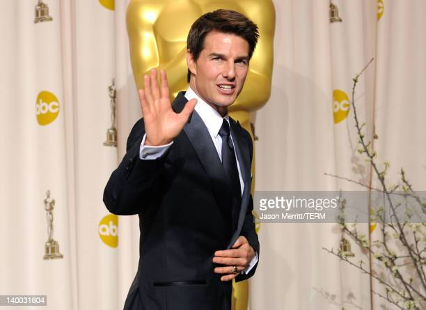 Actor Tom Cruise poses in the press room at the 84th Annual Academy Awards held at the Hollywood Highland Center on February 26 2012 in Hollywood...