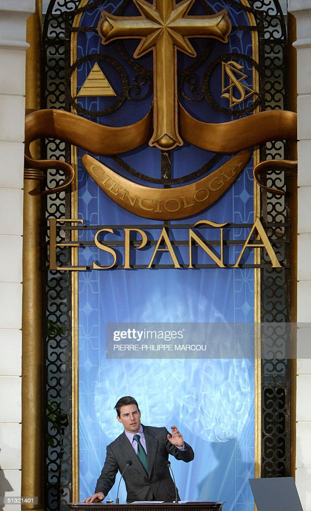 US actor Tom Cruise speaks during the inauguration of the Church of Scientology in Madrid 18 September 2004 AFP PHOTO/ PierrePhilippe MARCOU