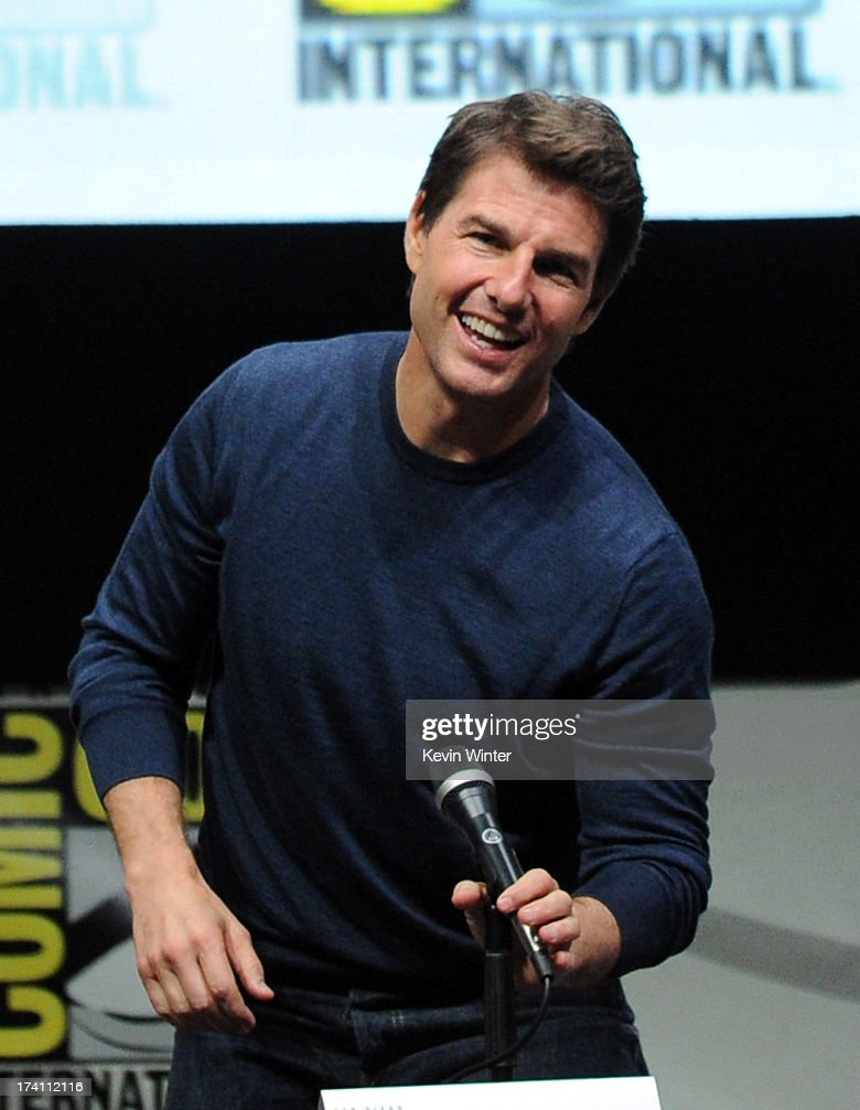 Actor Tom Cruise speaks onstage at the Warner Bros. and Legendary Pictures preview of 'Edge of Tomorrow' during Comic-Con International 2013 at San Diego Convention Center on July 20, 2013 in San Diego, California.