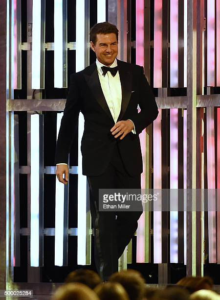 Actor Tom Cruise walks onstage to introduce NASCAR Sprint Cup Series driver Jeff Gordon during the 2015 NASCAR Sprint Cup Series Awards show at Wynn...