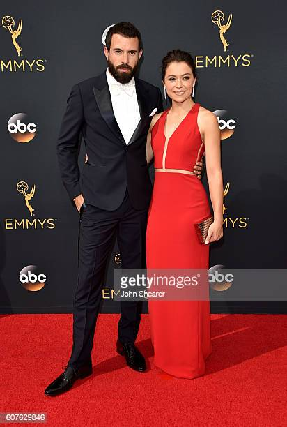 Actor Tom Cullen and actress Tatiana Maslany arrive at the 68th Annual Primetime Emmy Awards at Microsoft Theater on September 18 2016 in Los Angeles...