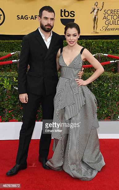 Actor Tom Cullen and actress Tatiana Maslany attend the 21st Annual Screen Actors Guild Awards at The Shrine Auditorium on January 25 2015 in Los...