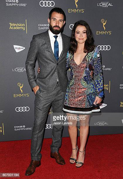 Actor Tom Cullen and actress Tatiana Maslany attend the Television Academy reception for Emmy nominated performers at Pacific Design Center on...