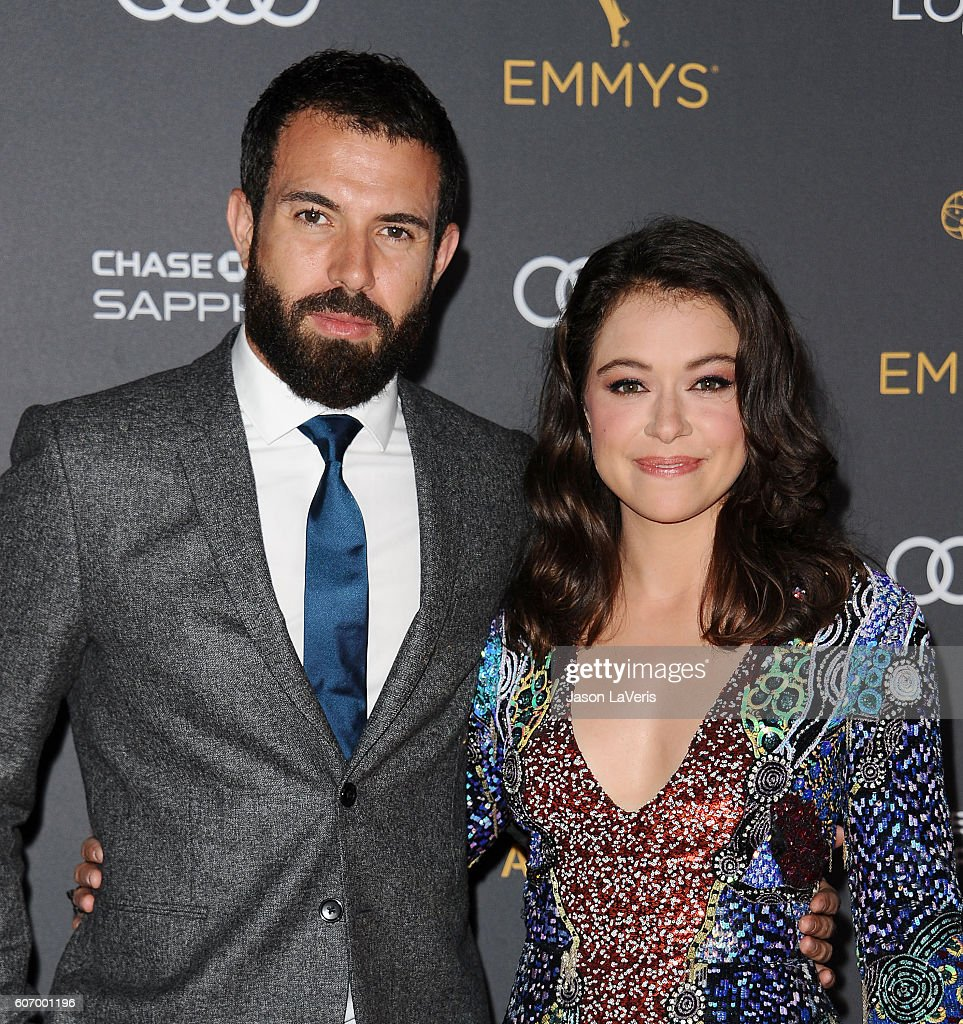 Actor Tom Cullen and actress Tatiana Maslany attend the Television Academy reception for Emmy nominated performers at Pacific Design Center on September 16, 2016 in West Hollywood, California.