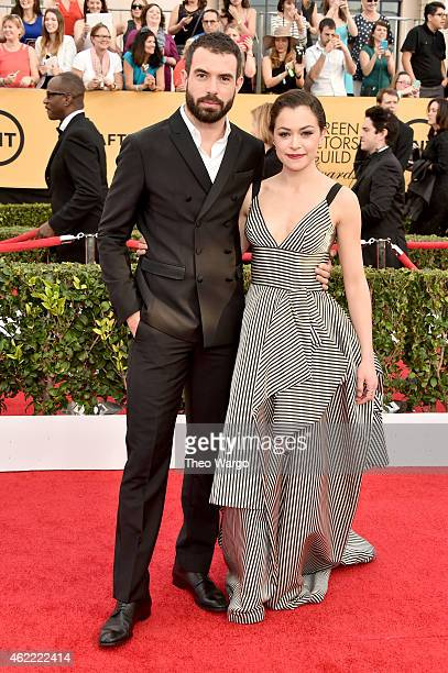 Actor Tom Cullen and actress Tatiana Maslany attend TNT's 21st Annual Screen Actors Guild Awards at The Shrine Auditorium on January 25 2015 in Los...