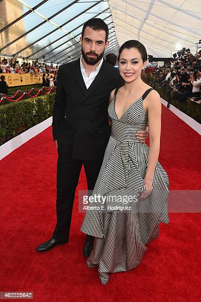 Actor Tom Cullen and actress Tatiana Maslany attends the 21st Annual Screen Actors Guild Awards at The Shrine Auditorium on January 25 2015 in Los...