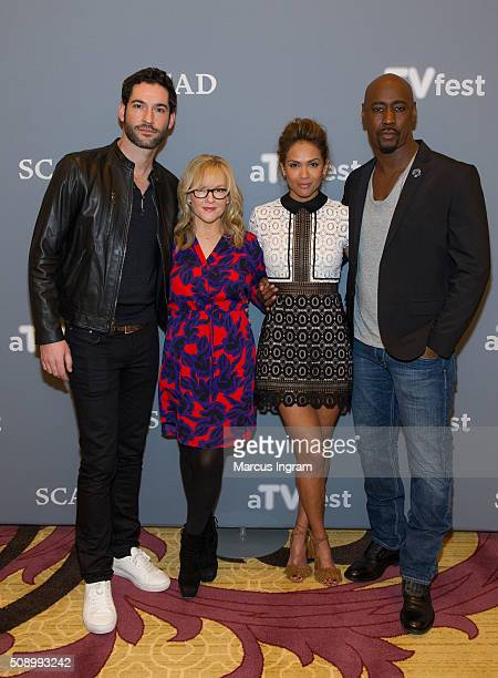 Actor Tom Ellis actress Rachael Harris actress LesleyAnn Brandt and actor DB Woodside attend SCAD aTVfest 2016 Day 4 at the Four Seasons Atlanta...