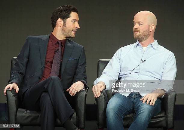 Actor Tom Ellis and Executive Producer Joe Henderson speak onstage during the 'Lucifer' panel discussion at the FOX portion of the 2015 Winter TCA...