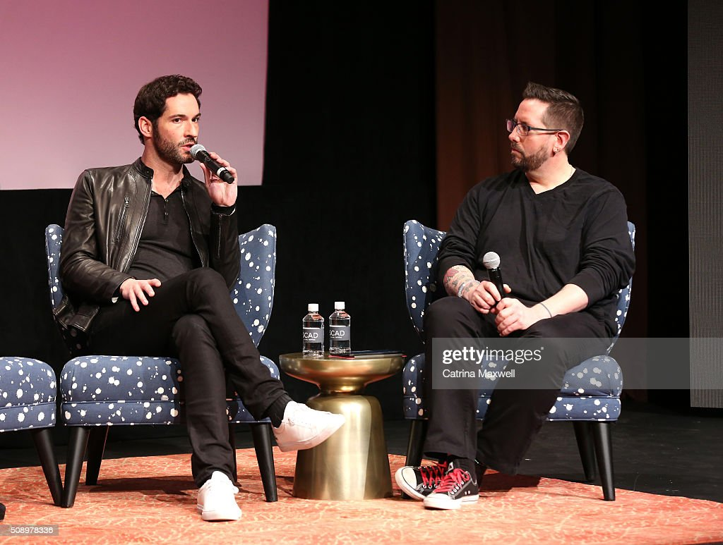 Actor <a gi-track='captionPersonalityLinkClicked' href=/galleries/search?phrase=Tom+Ellis+-+Actor&family=editorial&specificpeople=643597 ng-click='$event.stopPropagation()'>Tom Ellis</a> and moderator Damian Holbrook attends 'Lucifer' event during aTVfest 2016 presented by SCAD on February 7, 2016 in Atlanta, Georgia.