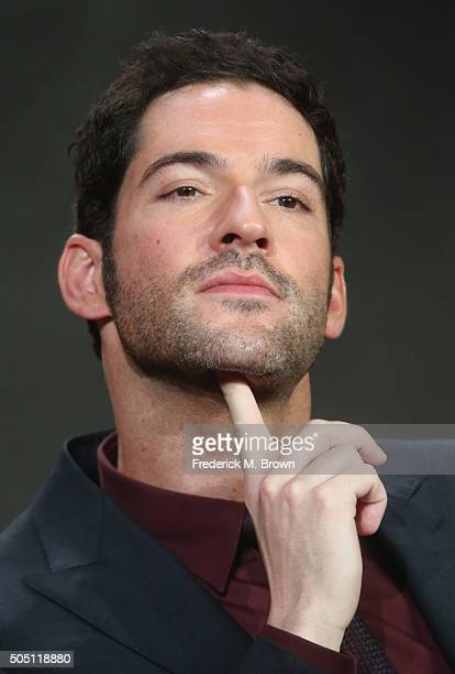 Actor Tom Ellis speak onstage during the 'Lucifer' panel discussion at the FOX portion of the 2015 Winter TCA Tour at the Langham Huntington Hotel on...