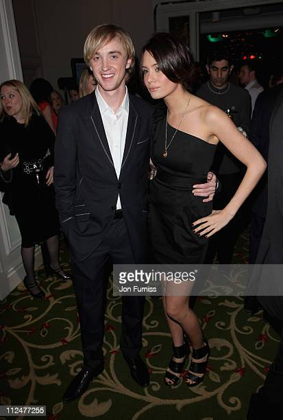 Actor Tom Felton and guest attends the Jameson Empire Awards at the Grosvenor House Hotel on March 29 2009 in London England