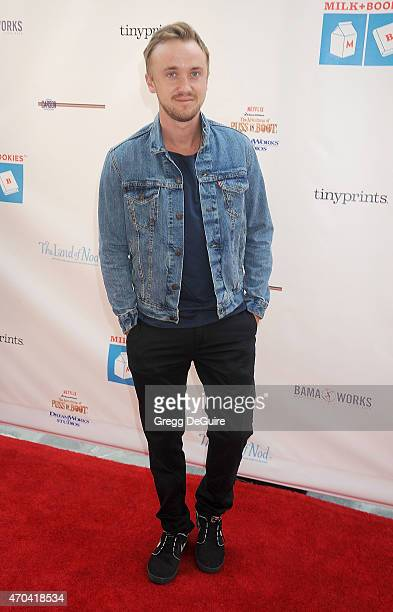 Actor Tom Felton arrives at the Milk Bookies 6th Annual Story Time Celebration at Skirball Cultural Center on April 19 2015 in Los Angeles California